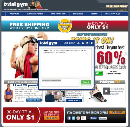 Web Optimization: Live chat yields 39% of Total Gym ...