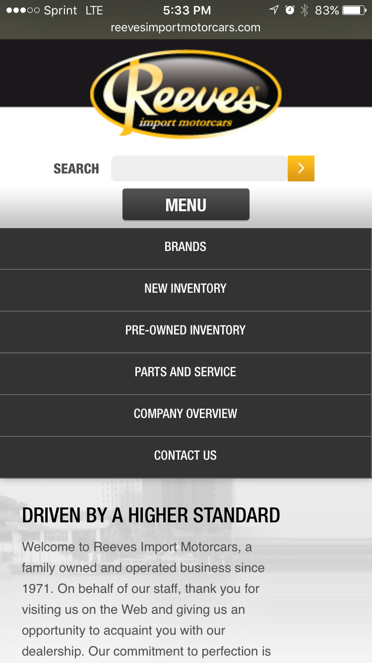 Reeves mobile page