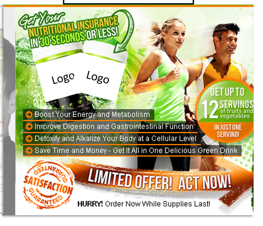 Creative Sample #1: Upper left of original homepage for health drink company