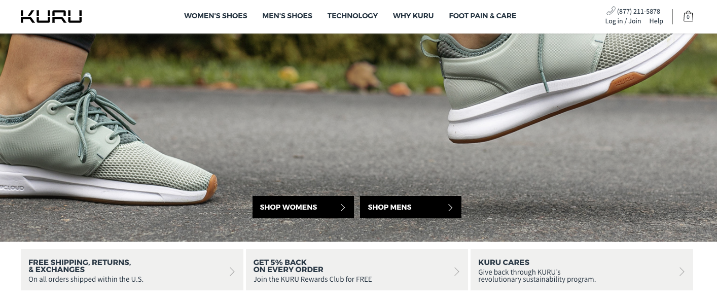 Creative Sample #3: Control homepage for footwear brand