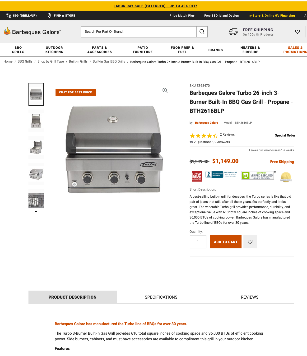 Creative sample #8: Product listing page on retailer's new website