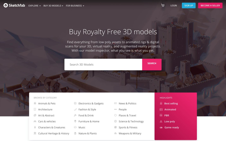 Creative Sample #10: Treatment landing page for 3D content models platform