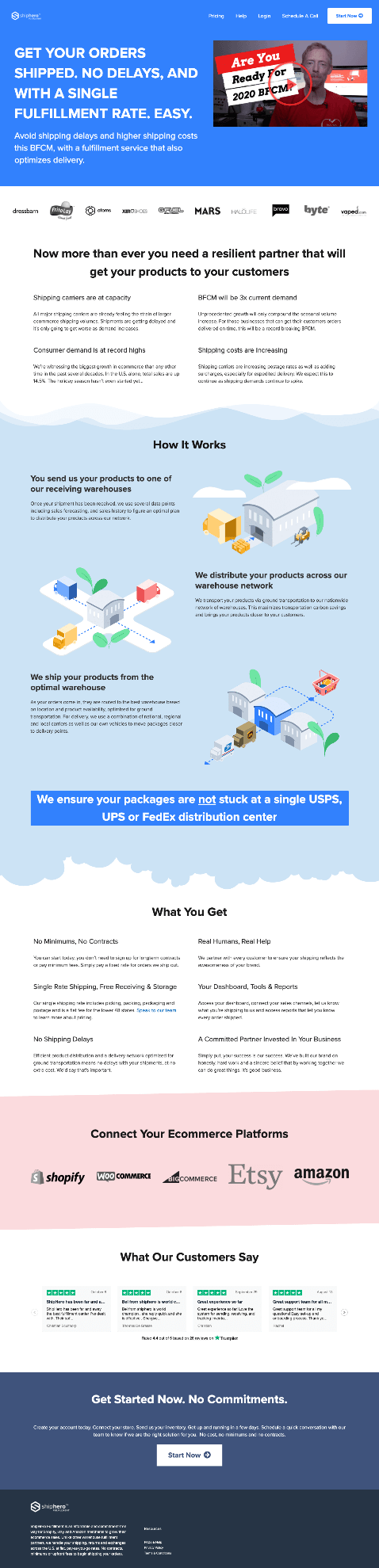 Creative Sample #6: New landing page for fulfillment software company