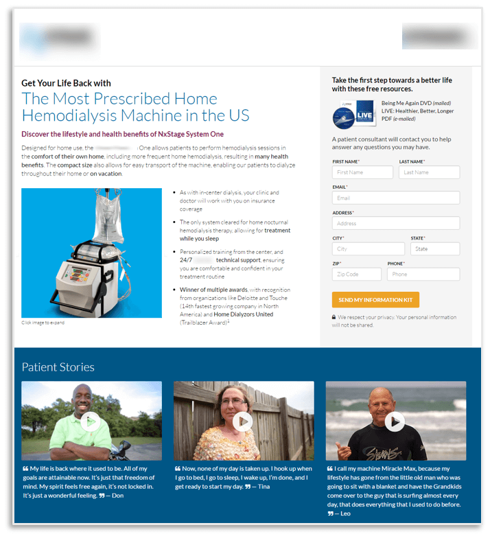 Creative Sample #2: Treatment landing page for hemodialysis machine