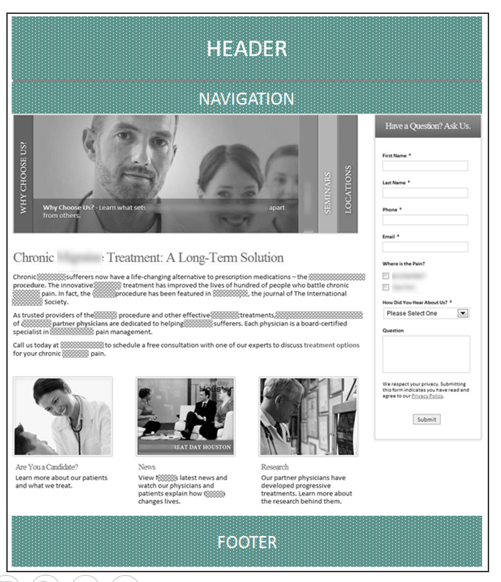 Creative Sample #1: Original (control) homepage for pain management physician (has been anonymized)