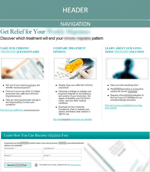 Creative Sample #2: New (treatment) homepage for pain management physician (has been anonymized)
