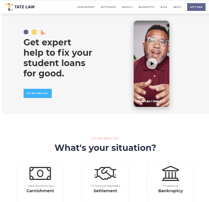 Creative Sample #4: New landing page for student loan law firm