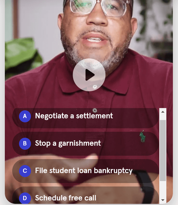 Creative Sample #5: Interactive video chatbox for student loan law firm