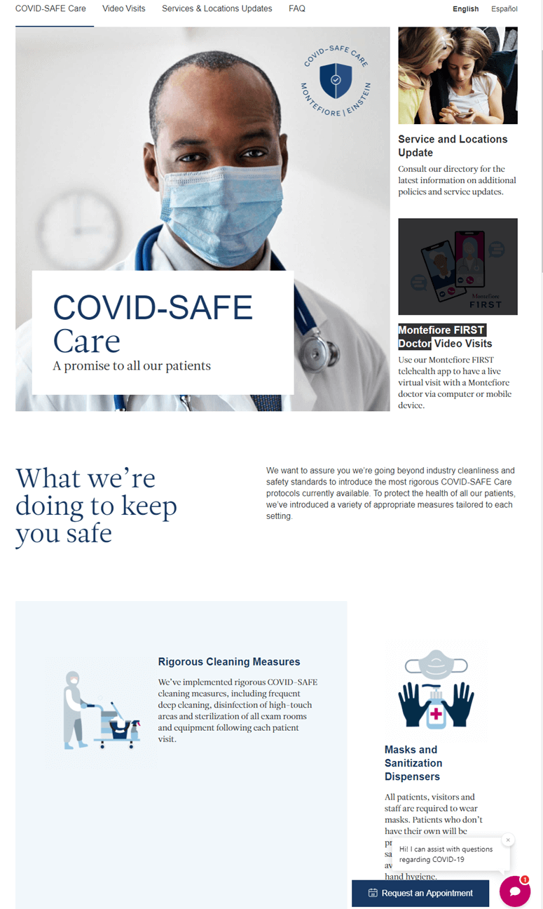 Creative Sample #5: Hospital's COVID-SAFE Care webpage