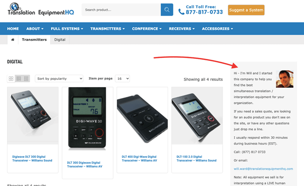 Creative Sample #1: Webpage for translation equipment company