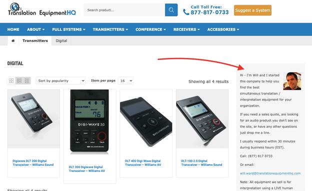 Creative Sample #1: Webpage for translation equipment company