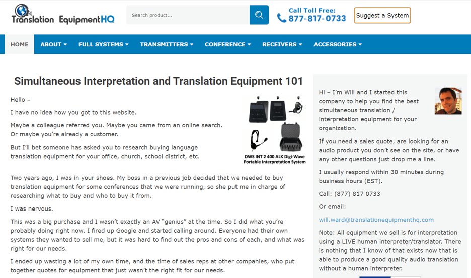 Creative Sample #2: Homepage for translation equipment company