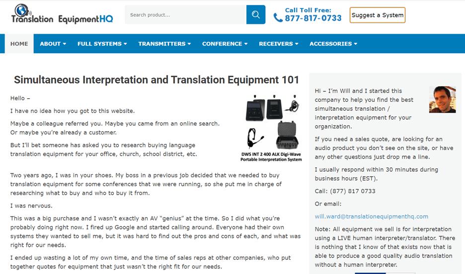 Creative Sample #2: Homepage for translation equipment company