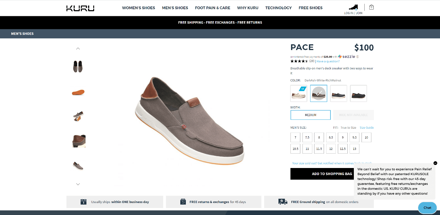 Creative Sample #3: Footwear company webpage with proactive triggered chat