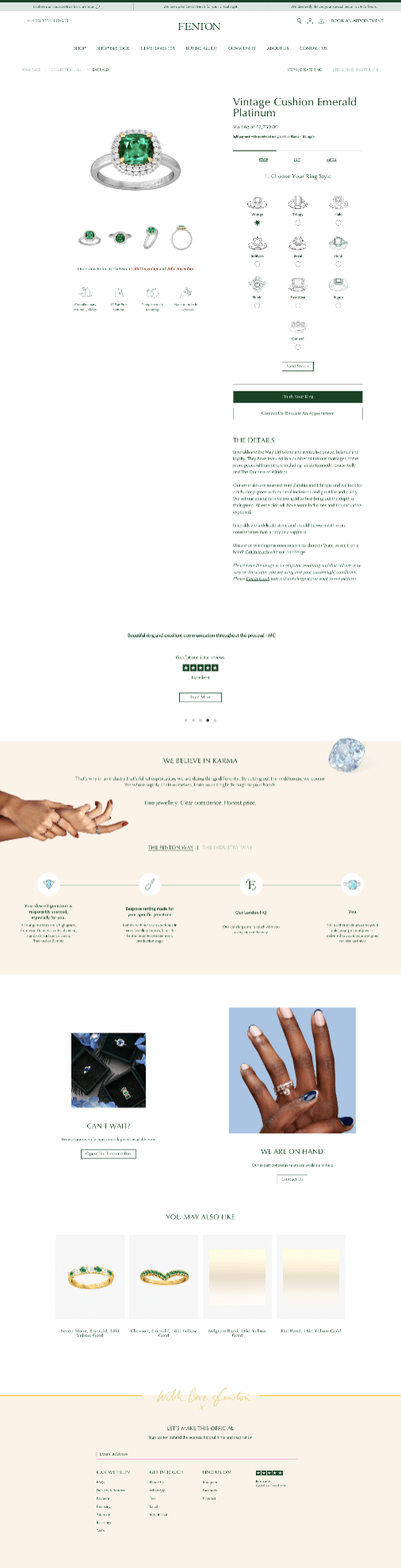 Creative Sample #4: Previous (control) landing page for jeweler