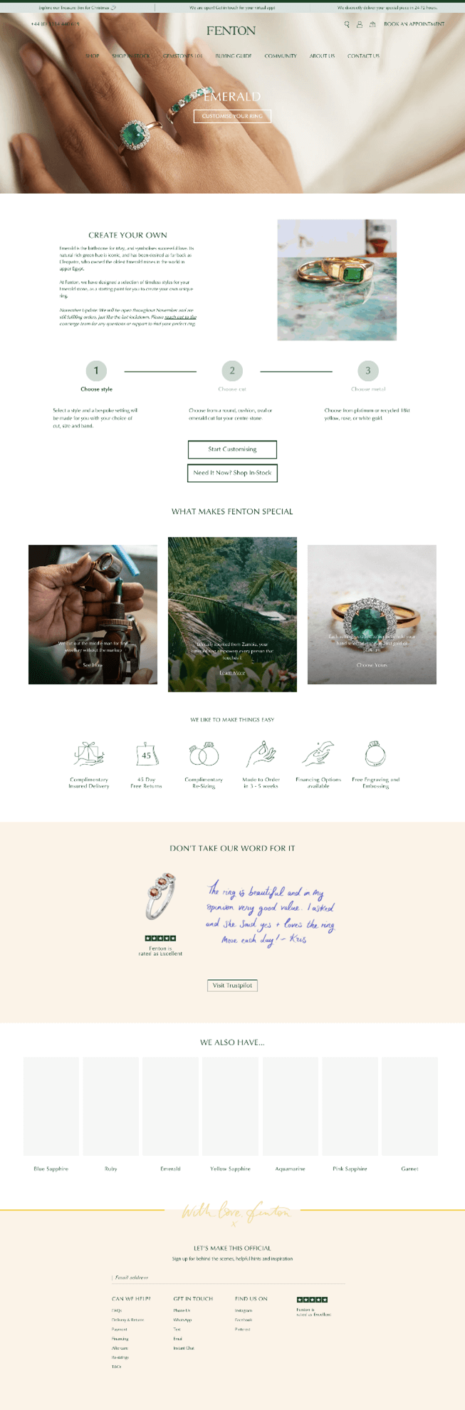 Creative Sample #5: New (treatment) landing page for jeweler