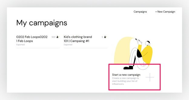 "Creative Sample #6: Previous ""create a campaign"" page"