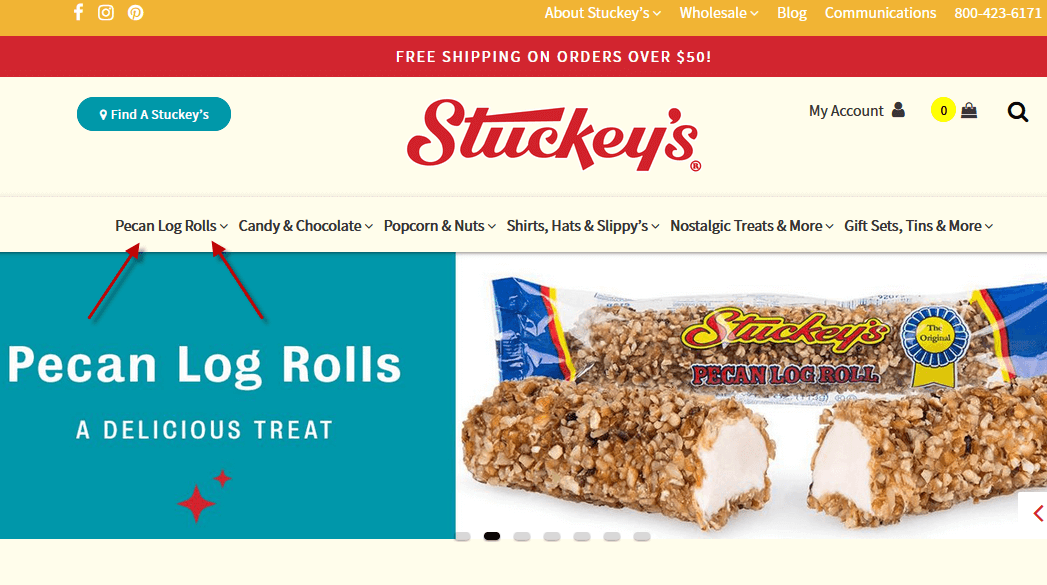 Creative Sample #1: Site navigation for roadside convenience store chain's website