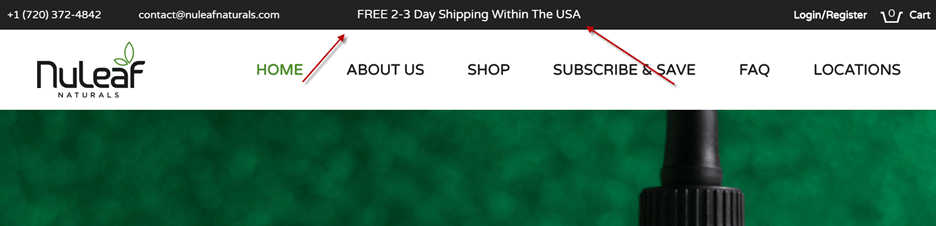 Creative Sample #2: Shipping info in header of CBD oil company website