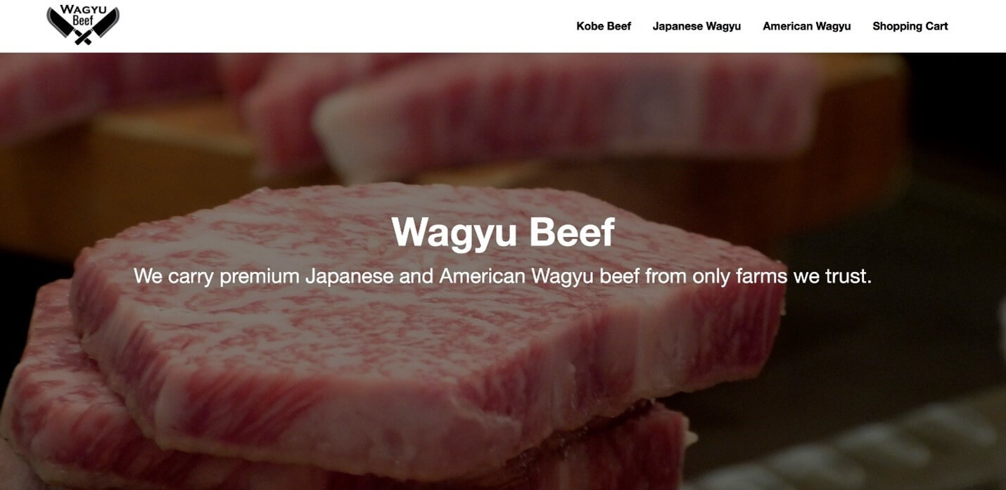 Creative Sample #5: Old homepage headline for global retailer of premium Wagyu beef