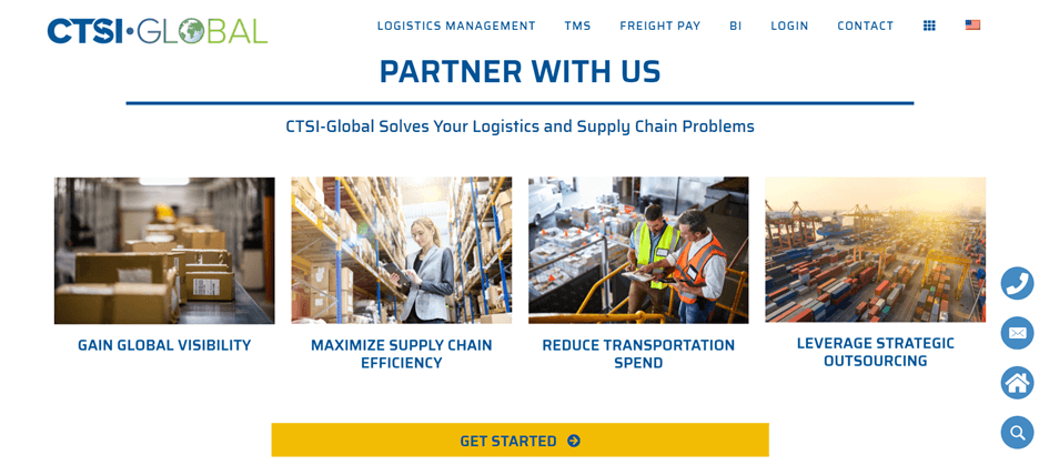 Creative Sample #3: New homepage for supply chain management company after first scroll