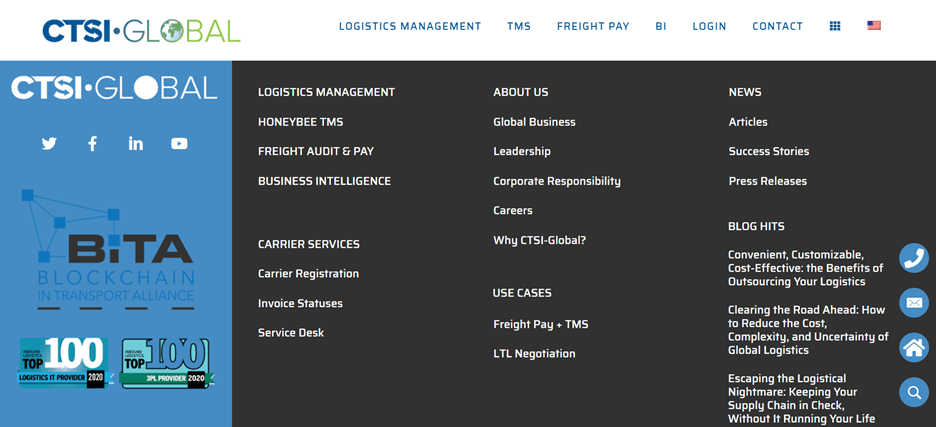 Creative Sample #5: Footer of new homepage for supply chain management company