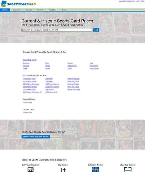 Creative Sample #7: New homepage for sports card website