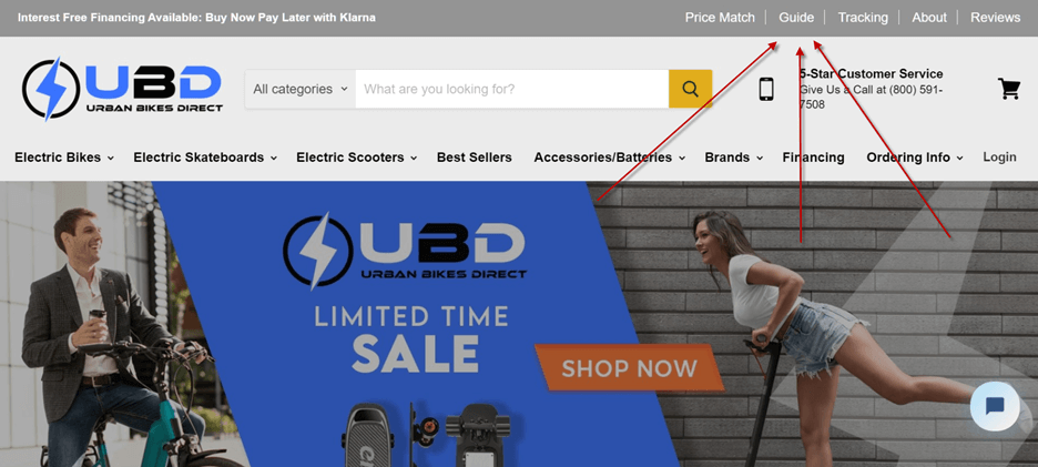Creative Sample #12: New nav link on ecommerce bicycle shop homepage