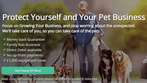 Creative Sample #1: New hero image on pet business insurance homepage
