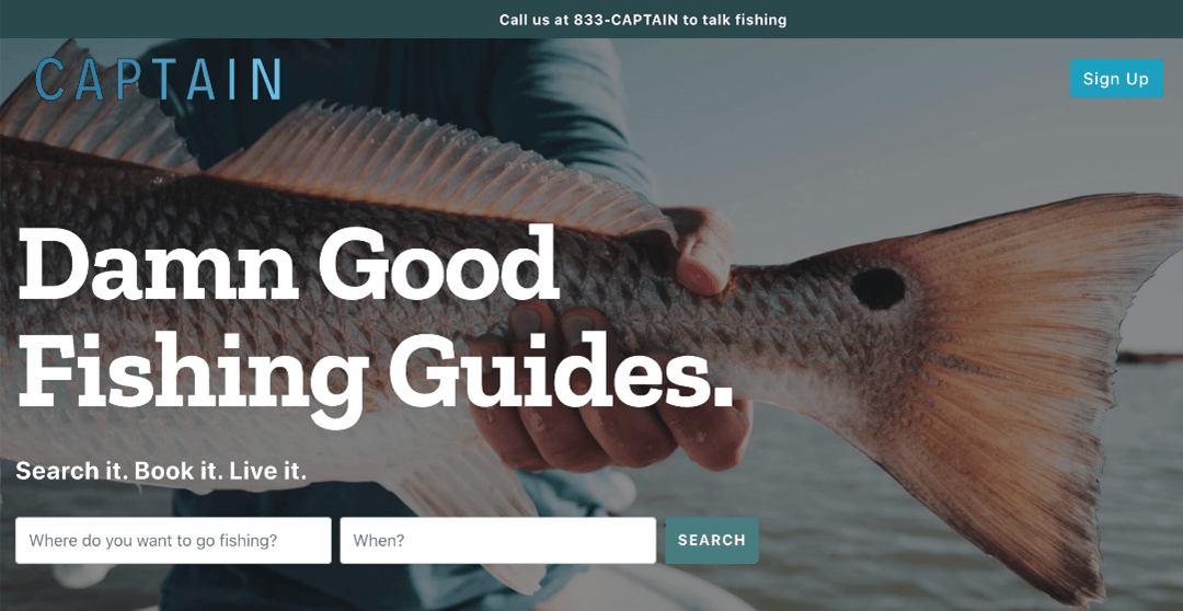 Creative Sample #3: Winning treatment (variant) of homepage for online marketplace for booking guided fishing trips