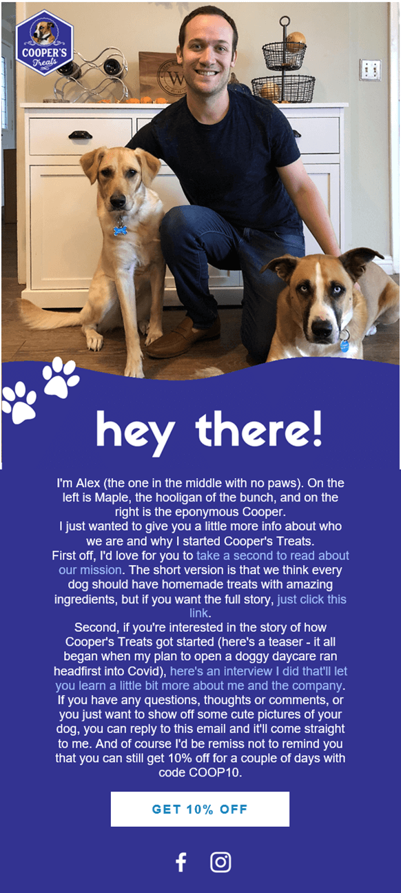 Creative Sample #4 Welcome series email from ecommerce dog treats website