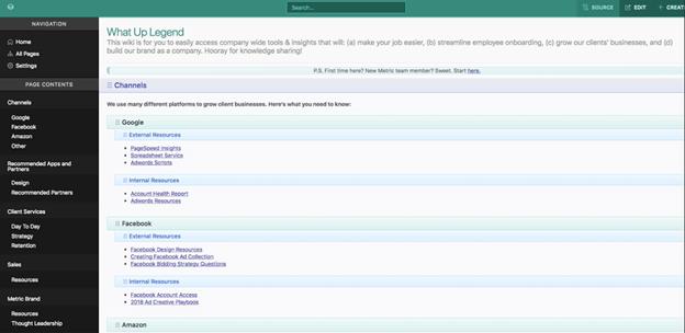 Creative Sample #1: Internal wiki homepage