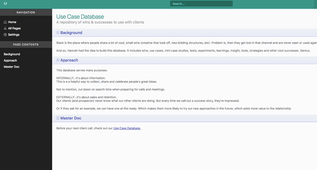 Creative Sample #2: Internal wiki subpage