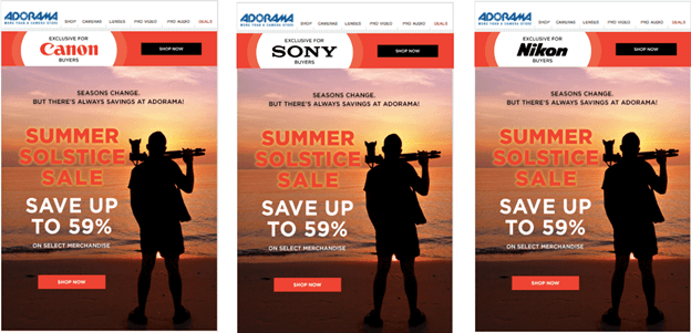 Creative Sample #2: Camera and electronics retailer's email after personalization
