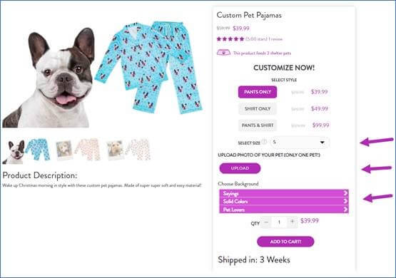 Creative Sample #1: Control (original) product landing page for pet gift company