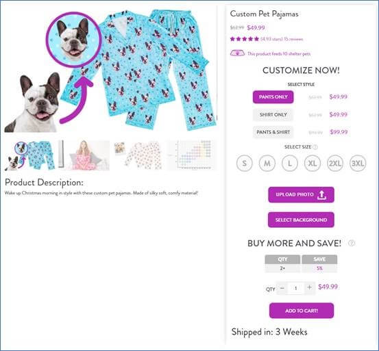Creative Sample #2: Treatment (challenger) product landing page for pet gift company
