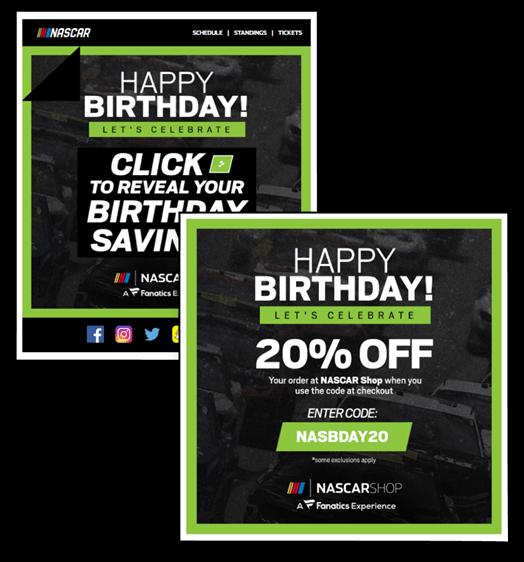 Creative Sample #2: NASCAR's peel-to-reveal birthday email