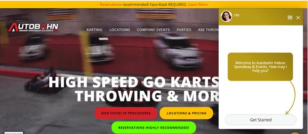 Creative Sample #1: Automated chatbot on Autobahn Indoor Speedway website