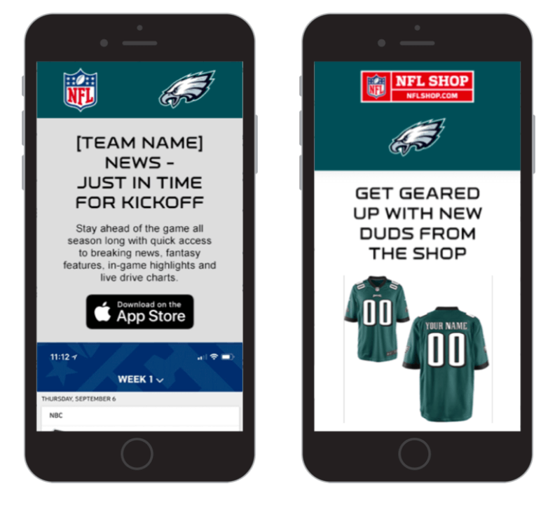Creative Sample #2: NFL email control (before) which focused on transactions