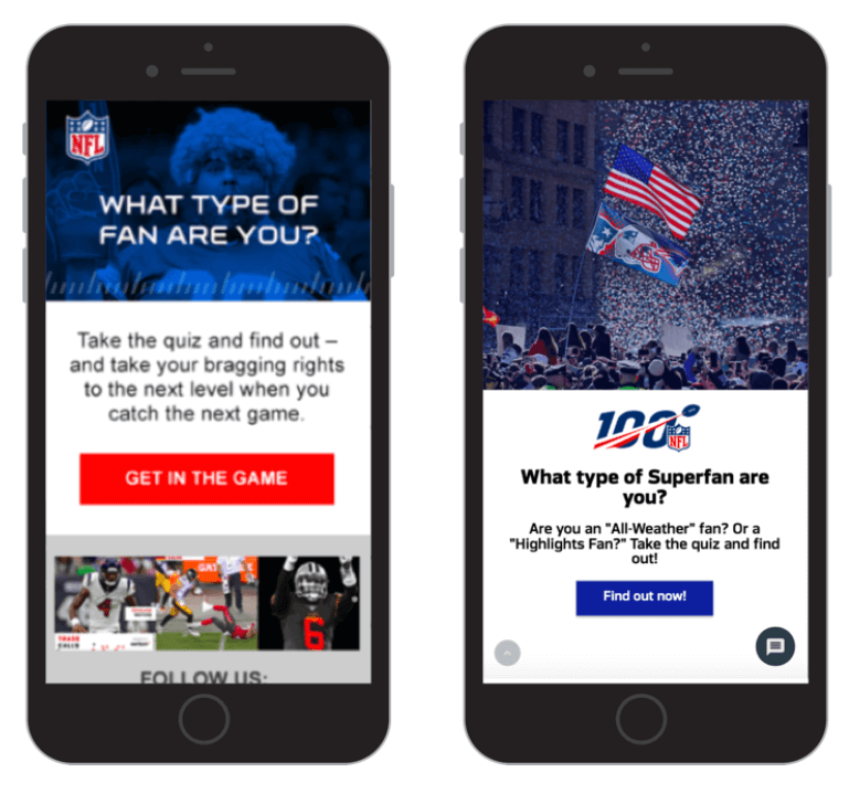 Creative Sample #3: NFL email treatment (after) which focused on interactions