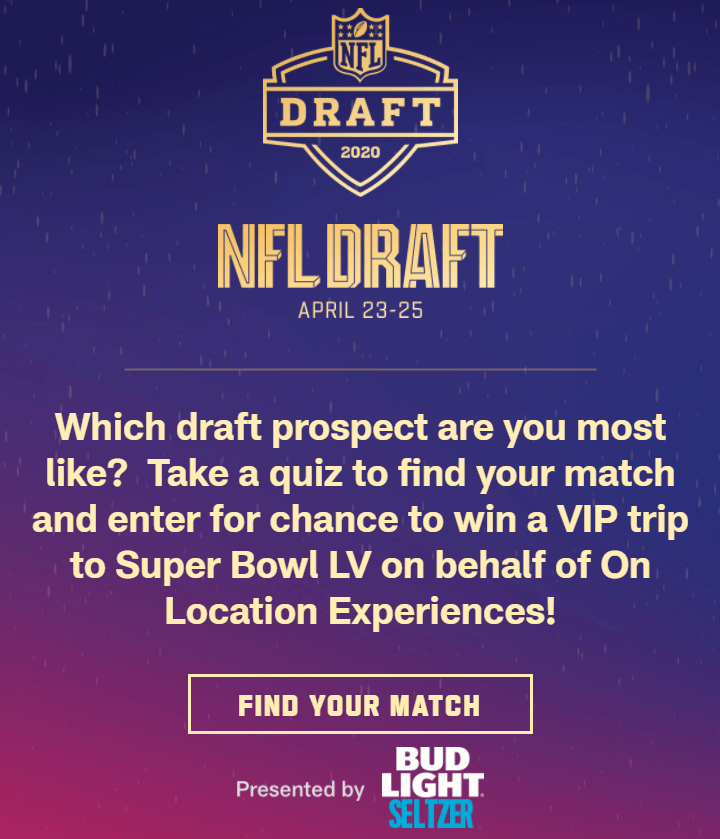 Creative Sample #4: Quiz-based ad for the NFL