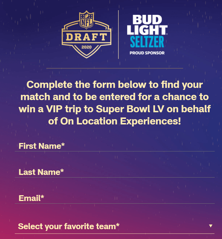 Creative Sample #5: Form in quiz-based ad for the NFL