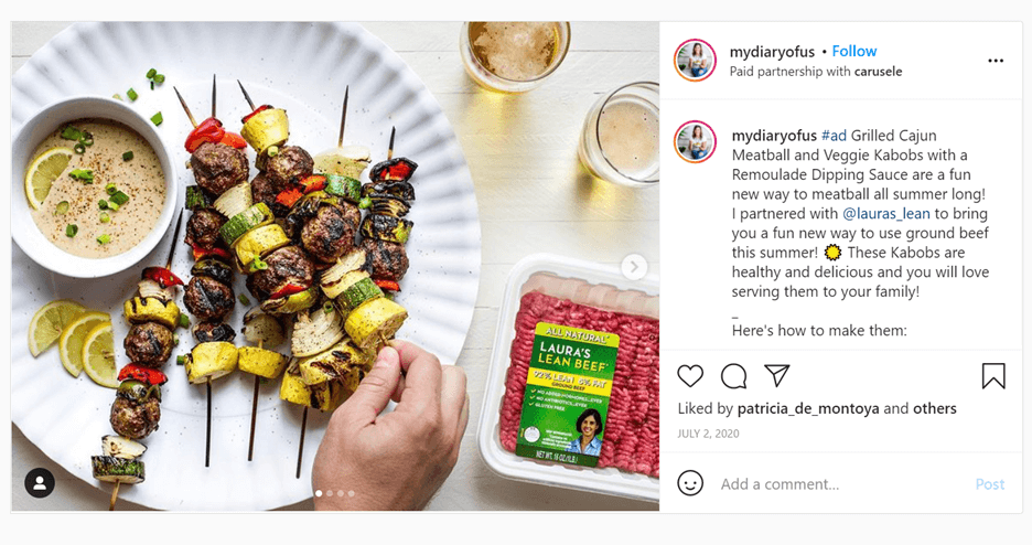 Creative Sample #1: Social media post by influencer sharing an easy family dinner recipe while promoting organic food producer Laura's Lean