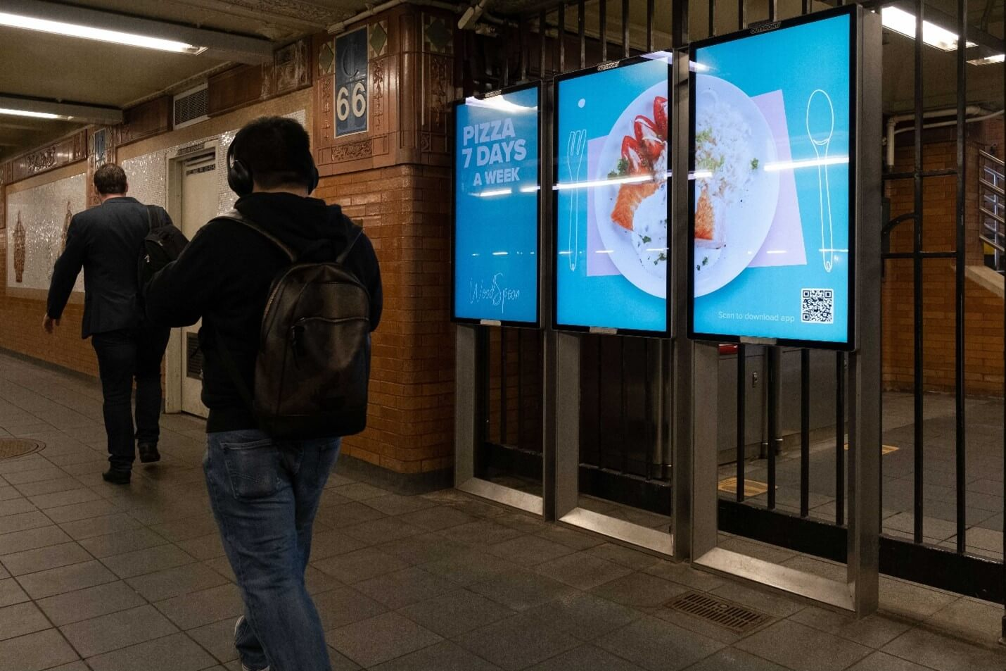 Creative Sample #3: Out-of-home digital ad in New York City subway station for food delivery platform