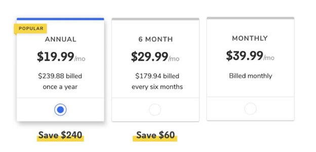 Creative Sample #2: Treatment (after) price presentation for Codecademy