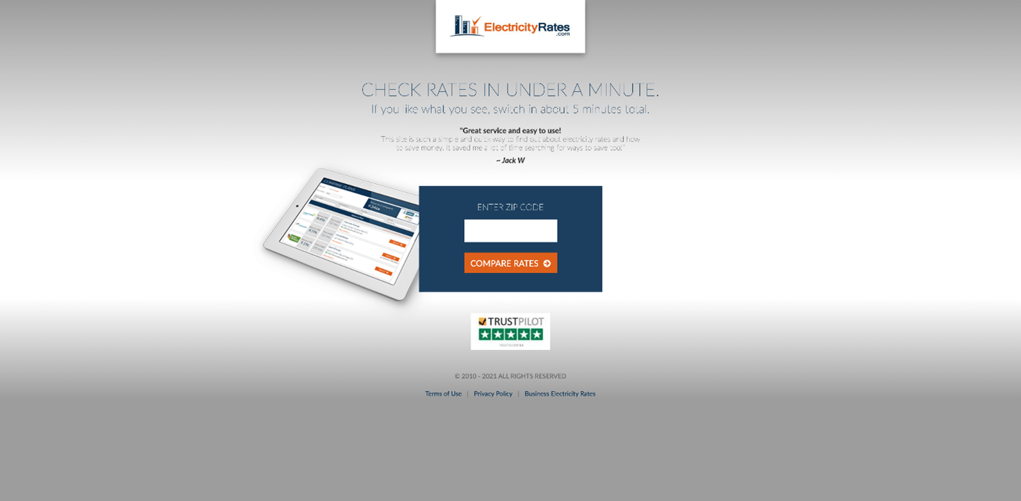 Creative Sample #3: Before (control) paid traffic landing page for energy shopping website