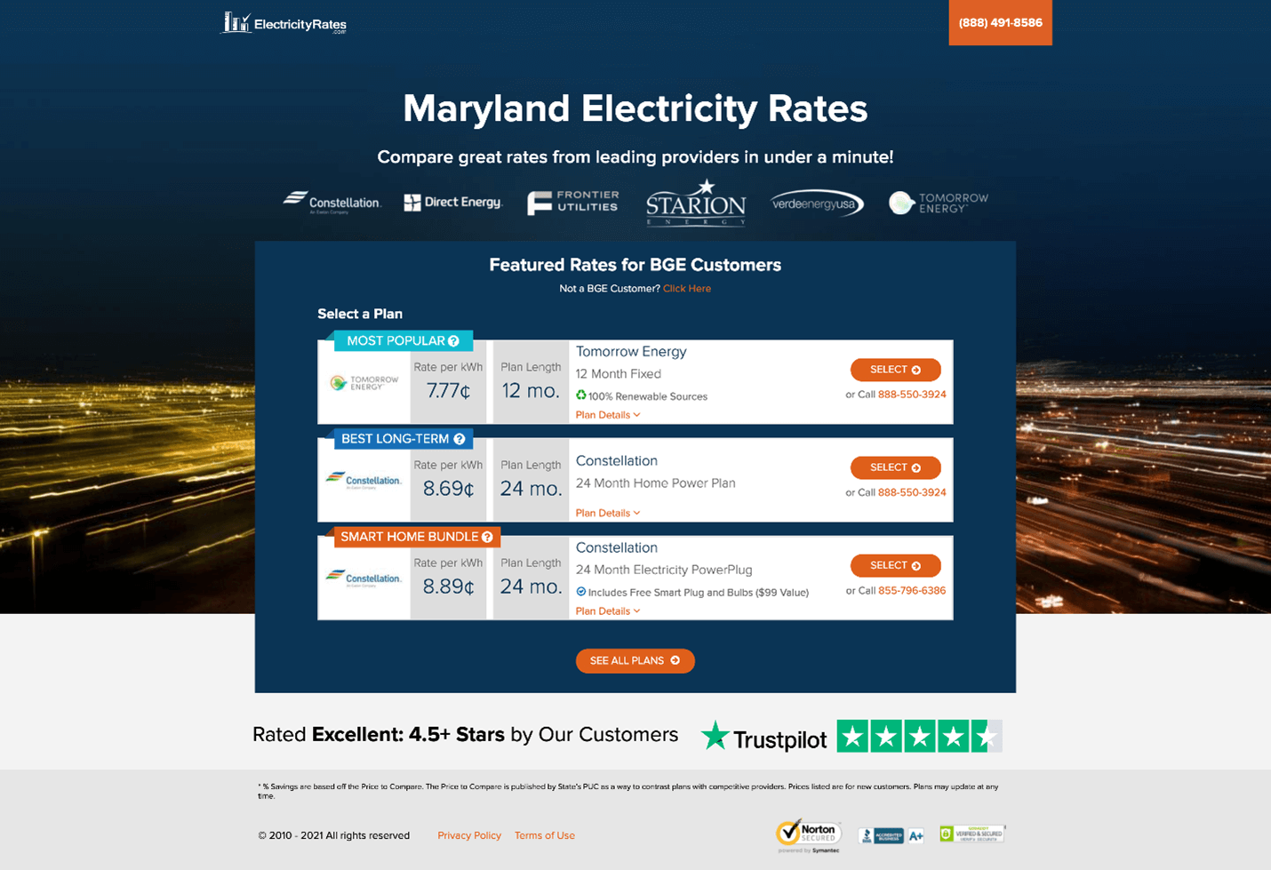Creative Sample #4: Treatment (after) paid traffic landing page for energy shopping website