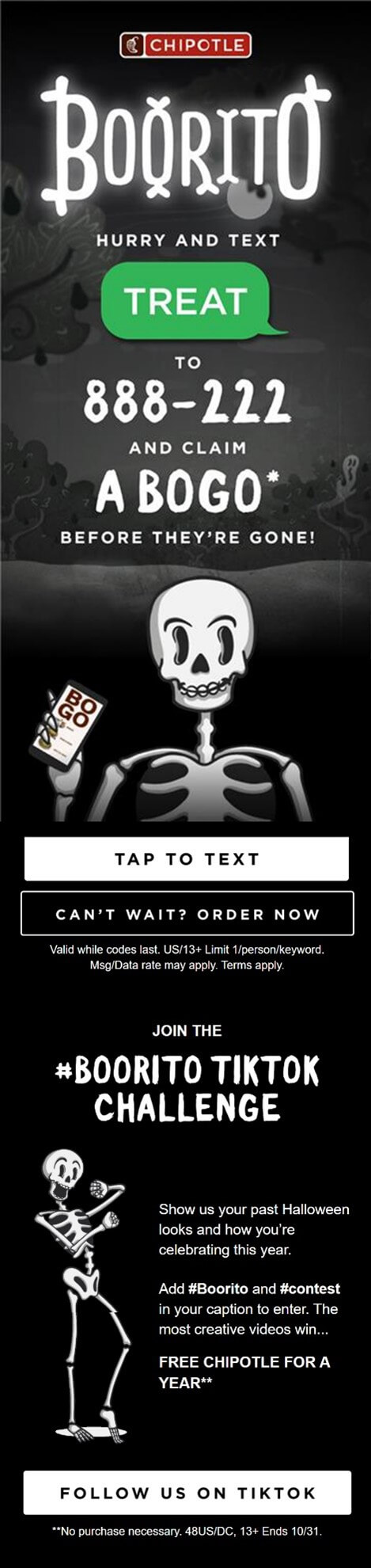 Creative Sample #1: Mobile version of email for Chipotle Boorito digital campaign