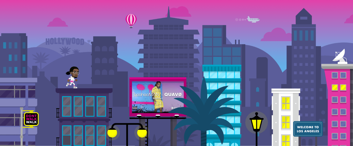 Creative Sample #4: Video game promoting clothing collaboration between fashion company boohooMAN and rapper Quavo