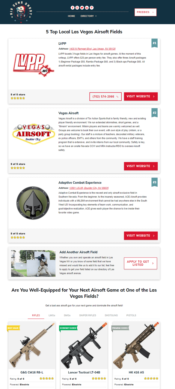 Creative Sample #2: Local-targeted page for air gun website